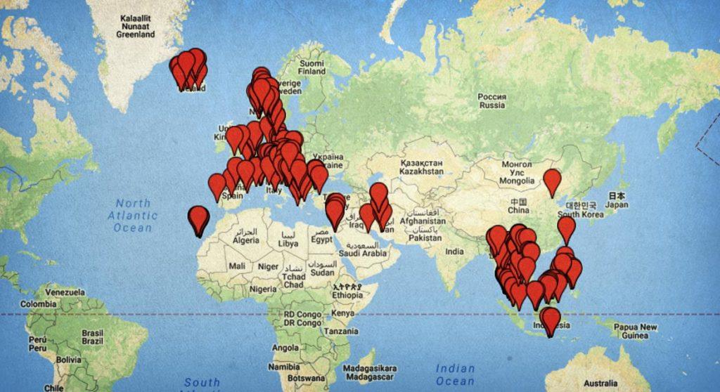 Mapa sveta s miestami, ktoré som navštívil. Ako vidíš, zatiaľ som cestoval v Európe a Ázii. To sa snáď čoskoro zmení :)