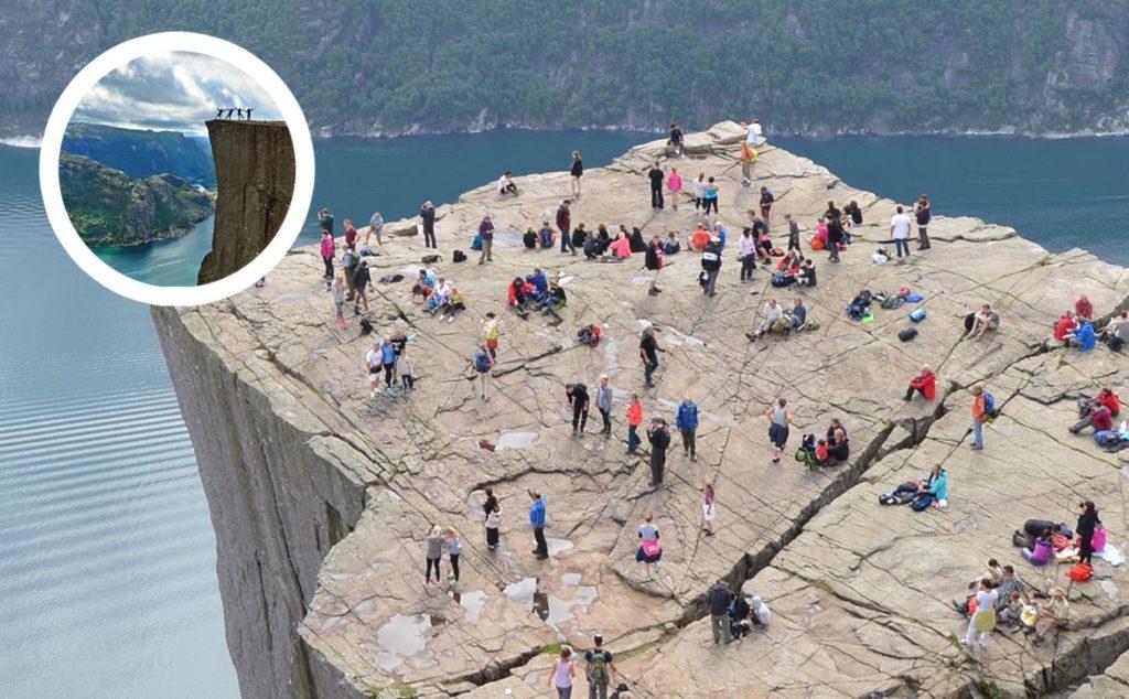 Preikestolen v Nórsku, veľa ľudí