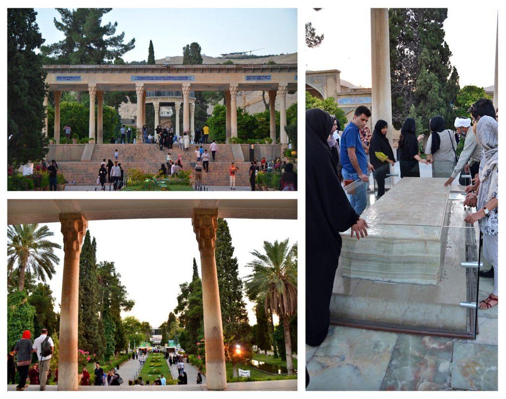 """Mesto Shiraz a hrobka """"Tomb of Hafez"""", v ktorej je pochovaný najznámejší Iránsky poét Hafez."""