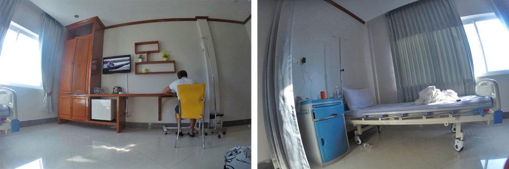 Moja izba v súkromnej nemocnici v Kambodži, s klimatizáciou, telkou, či chladničkou. Jedno z najlepších ubytiek, ktoré som v Kambodži mal :D
